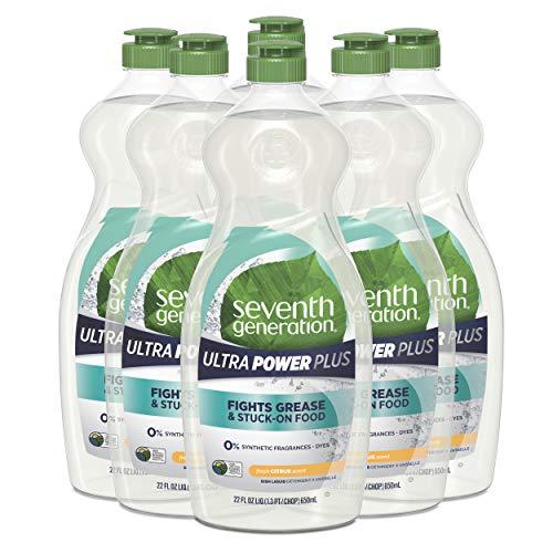 Seventh Generation Ultra Power Plus Dish Liquid Soap, Fresh Citrus Scent, 22 oz, Pack of 6