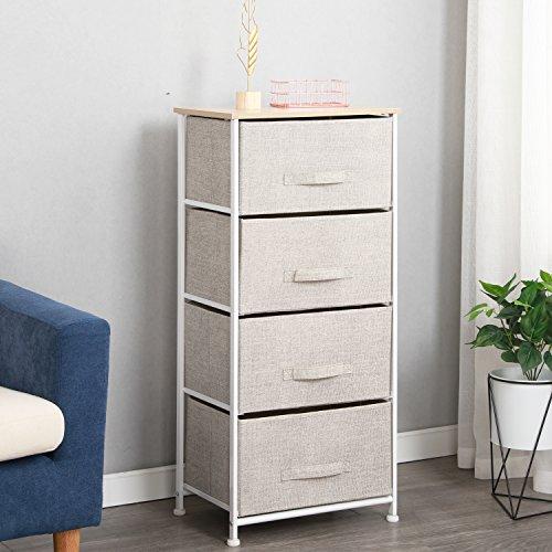 DlandHome Armario de almacenaje Cómoda Estrecho Organizador con 4 cajones de Tela para el Dormitorio, la habitación Infantil o Zonas pequeñas -Beige