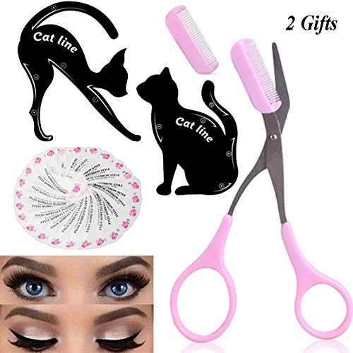Eye Makeup Tool Kit for Women Cat Eyeliner Stencil / 24 Shapes Eyebrow Stencil/Eyebrow Trimmer Scissors With Comb Hair Remover Beauty Tools