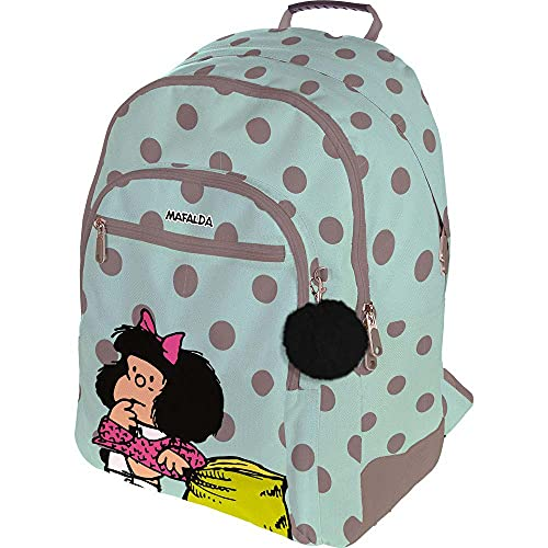 Grafoplás 37500153. Mochila Escolar Mafalda Dots, Adaptable a Carrito, 33x45x22,5cm