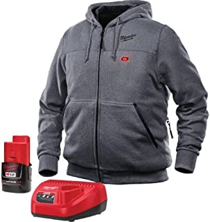 Milwaukee Hoodie KIT M12 12V Lithium-Ion Heated Front and Back Heat Zones Battery and Charger Included (Extra Large, Gray)