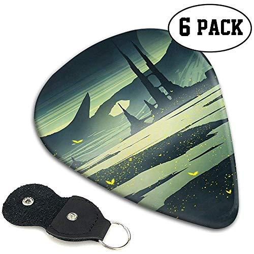 Celluloid Plektren Sampler Pick 6 Pack Landschaft Schmetterlinge River Rocks personalisiert