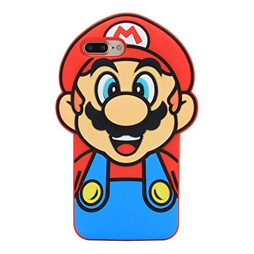 CASESOPHY Super Mario Case for iPhone 7 Plus 7+ 8+ 8Plus 5.5' Large Size Soft Silicone 3D Cartoon Cool Protective for Kids Boys Men