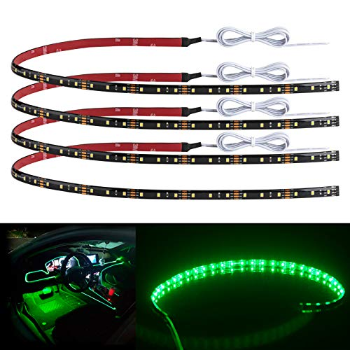 """Geeon 4-Pack 24"""" Green Car Interior LED Strip Light 12V Waterproof IP65 Cuttable Connectable for Automotive Boats Trucks Cargo Trailer Camper-Vans Inside"""