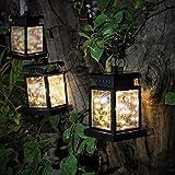 CozyHome 3 lanterne solari a LED per esterni, 3 lanterne resistenti alle intemperie, 20 LED, luce bianca calda, luce solare da giardino con catena luminosa, non alimentata, batteria integrata