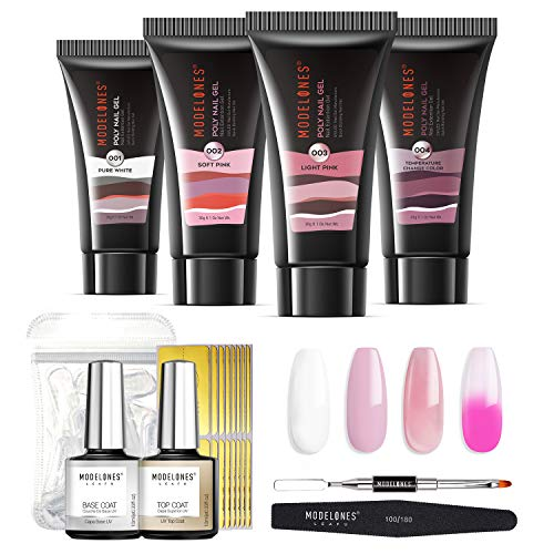 Modelones Poly Nail Gel Kit 30 ml Température Changement de Couleur Extension Builder Enhancement Professional Starter Kit All-in-One Nail Technician French Kit