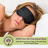 100% Pure Mulberry Silk Black Charmeuse Eye Sleep Mask - Light Blocking Design Provides Deep Uninterrupted Healthy Sleep