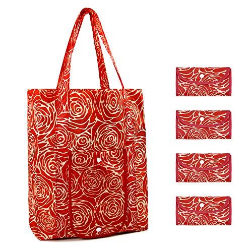 Wiederverwendbare Einkaufstaschen, leicht, faltbar, 4 Stück, Einkaufstaschen mit Griffen, waschbar, langlebig, strapazierfähig, extra groß, Einkaufstasche für Frauen, rote Rose