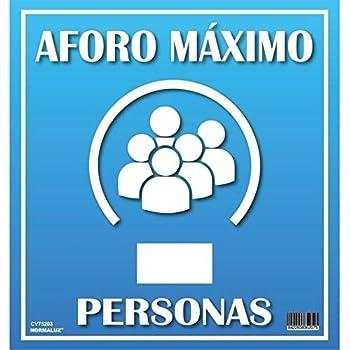 PACK 2 SEÑALES AFORO MÁXIMO PVC 0,7mm 33x35cm COVID 19: Amazon.es ...
