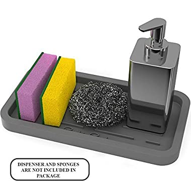 Sponge Holder - Kitchen Sink Organizer - Sink Caddy - Silicone Sink Tray Soap Holder - Grey