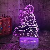 Anime Naruto Uchiha Madara llevó la luz de la noche Naruto figura 3D ilusión lámpara de noche para niños dormitorio decoración niños juguetes niños lámpara