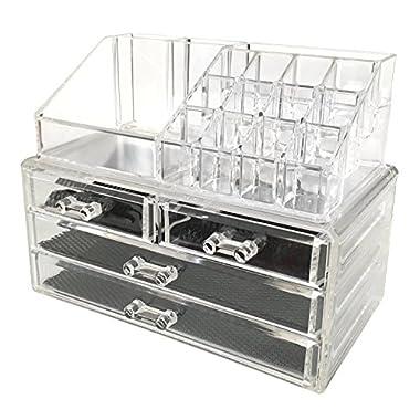 Sodynee Jewelry and Cosmetic Storage 2 Piece Acrylic Makeup Organizer