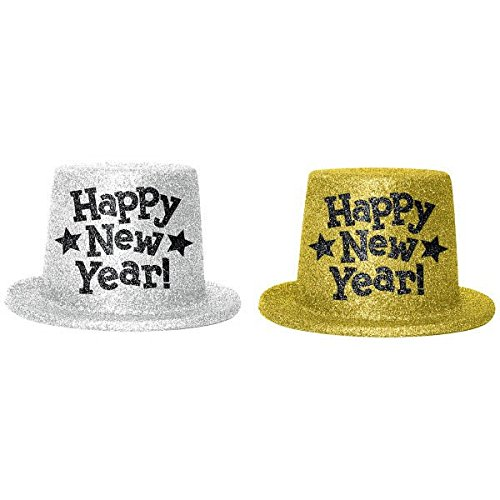 Learn More About Rocking New Year's Party Glitter Top Hats Accessory, Silver,Gold, Plastic, 5, Pack...
