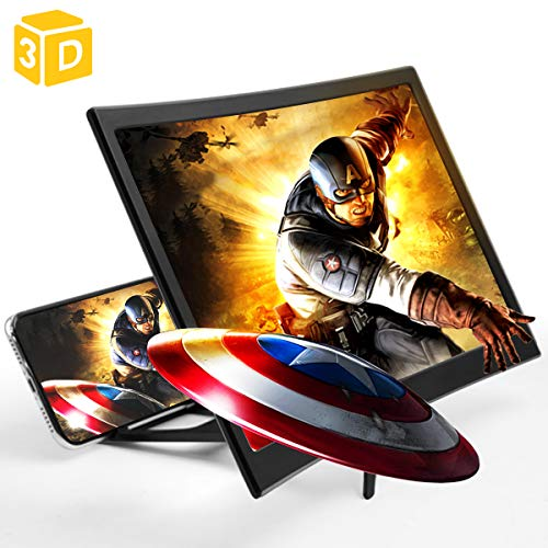 Screen Magnifier for Cell Phone Anti-Blue Light HD 12'' Curved Projector 3D Phone Screen Amplifier with Foldable Holder Stand Screen Enlarger Compatible with iPhone 11 Pro Max XS XR X 8 Samsung Galax