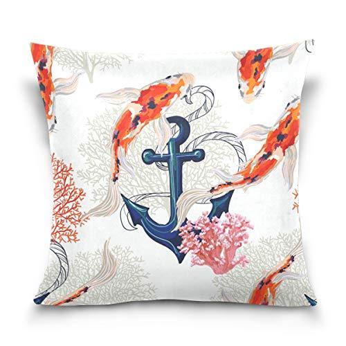 hengpai Carp Fish Anchor Square Pillow Cases Decorative Pillow Cover Cotton Velvet for Couch Safa