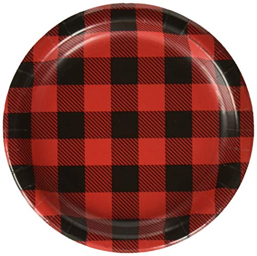 Creative Converting Black and Red Plaid Round Paper Plates Party Supplies, 7, Multicolor
