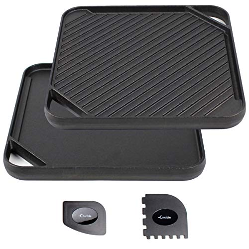 Cast Iron Griddle (10.63' by 10.63'), Reversible, Pre-Seasoned, Grill and Griddle Combo Pan, BBQ, Campfire, fits over one stovetop burner