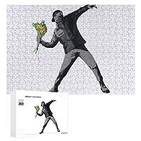 ジグソーパズルBanksy 花を捨てる少年、木質、成層なし、自家製デコレーション、すべての年齢層に適しています(300 PCS)