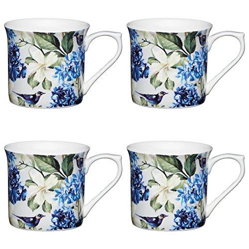 Lot de 4 mugs Motif oiseaux bleus avec cannelures florales multicolores 300 ml