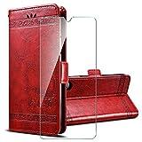 PZEMIN für Motorola Moto G9 Play/Moto E7 Plus Etui Hülle Flip Lederhülle Ledertasche Leder Schale TPU Schutz Hülle Cover + 1x Panzerglas Schutzfolie Bildschirmschutzfolie - Rot