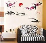 HALLOBO XXL Wandtattoo Chinesische Stil Malerei Gemälde Berg Landschaft Wandaufkleber Wandsticker Wall Sticker Wohnzimmer Schlafzimmer Deko