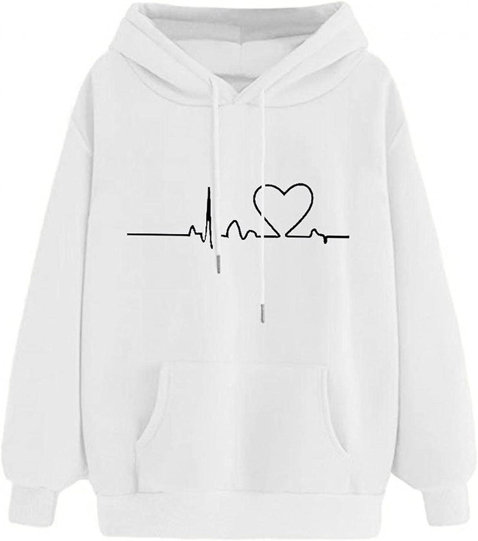 Aniwood Sweatshirts for Women, Womens Long Sleeve Heart Printed Hooded Sweatshirts Teen Girls Casual Loose Tops Shirts