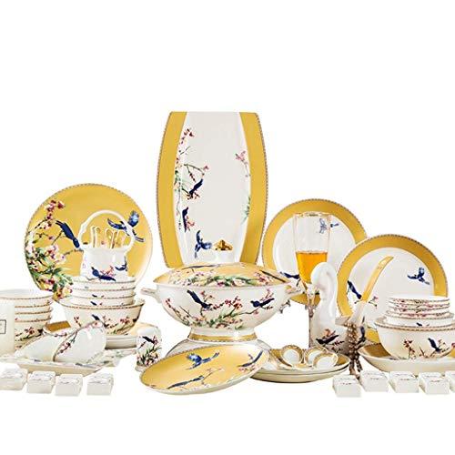 ZEH Juego de vajillas de China de Hueso Conjunto de Platos de cerámica de 60 Piezas diseñada para Platos para el hogar de Estilo Europeo FACAI