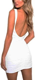 Women's Sexy Backless Sleeveless Ruched Stretchy Bodycon Mini Club Dress