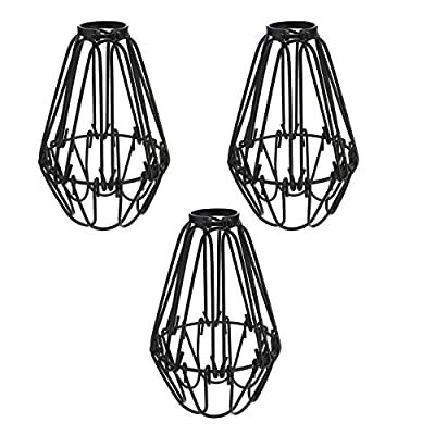 Metal Bulb Guard Lamp Cage,TWDRTDD Ceiling Fan and Light Bulb Covers,Industrial Vintage Style Hanging Pendant Light Fixture Lamp Guard (Black, 3-Pack)