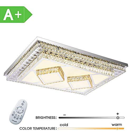 ZDHG Led-plafondlamp, kristal, 240 W, dimbaar, rechthoekige plafondlamp, creatieve spaarlamp voor woonkamer, slaapkamer, eetkamer, energieklasse A