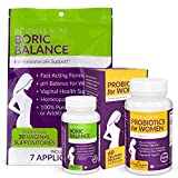Intimate Rose Combo Pack! Flora Bloom Probiotics for Women (One Bottle) and Boric Balance Boric Acid (One Bottle) - Intimate Rose 2 Pack