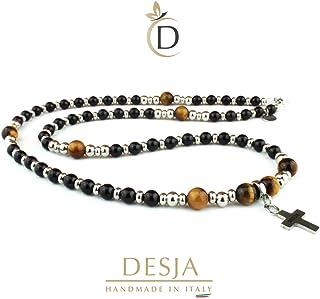 Collana uomo rosario con pietre dure naturali onice nero e occhio di tigre con croce pendente e distanziatori in acciaio i...