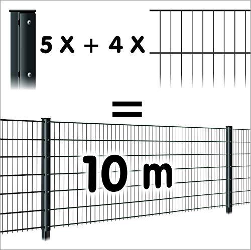 Zaun 10m: 4 Doppelstabmatten + 5 Pfosten 656, Oberfläche:verzinkt - anthrazit, Höhe:143cm
