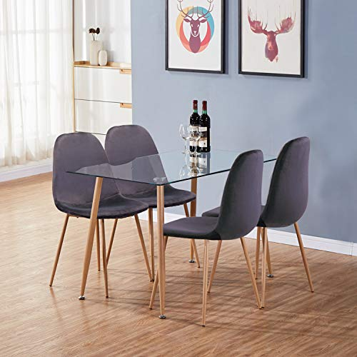 GOLDFAN Dining Table and 4 Chairs Wood Style Rectangular Glass Kitchen Table and Velvet Chairs Dining Table Set, 120cm, Grey