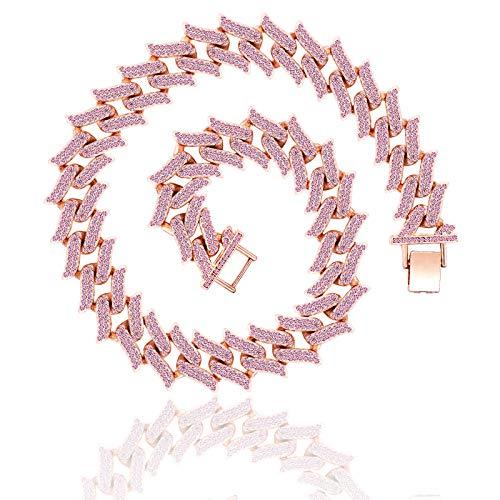 ALLILUYAA Collar de Hip Hop, Cadena Completa de Cubos de Diamantes, Collar de Hip Hop Personalizado Multicolor, Forma de Espina de Fuego, múltiples tamaños, Joyas de Hip Hop (Oro Rosa (46cm))