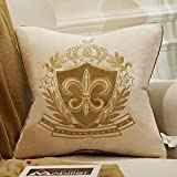 Avigers 18 x 18 Inch Shield Embroidery Velvet Cushion Cover Luxury European Pillow Case Pillowcase Home Decorative for Sofa Chair Bedroom Throw Pillow, Beige