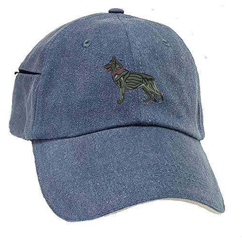 YourBreed Clothing Company German Shepherd Black Low Profile Baseball Cap with Zippered Pocket.