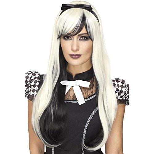 Smiffys Deluxe Gothic Alice pruik met haarband, één maat, blond en zwart, 45043