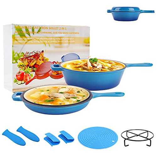 HOPESON Enameled Cast Iron 2-In-1 Skillet Set, Heavy Duty 3.2 Quart Enamel Cookware Pot, Lid Set & Useful Accessories, Deep Saucepan & Shallow Skillet Dutch Oven Nonstick Frying Pan for Chef Kitchen