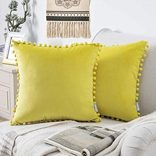 Velvet Soft Decorative Square Throw Pillow Case Cushion Covers Pillowcases with Poms for Livingroom Sofa Bedroom with Invisible Zipper 18x18 /45X45CM 4 Piece Pink (Lemon Yellow)