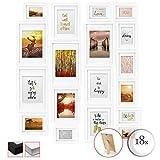 bomoe 18er Set Bilderrahmen Passion Bilder-Collagen Fotorahmen aus Holz, Plexiglas, Metall-Aufhängung, Aufsteller & Passepartout - 6X 10,5x15cm / 4X 13x18cm / 4X 18x24cm / 4X 20x30cm - Weiß