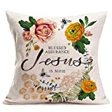 ShareJ Summer Throw Pillow Covers Jesus Quote with Flower Bee Nest Decorative Pillow Cases Standard Cotton Linen Cushion Cover 18 x 18 Inches for Home Sofa Decor Pillow Shams