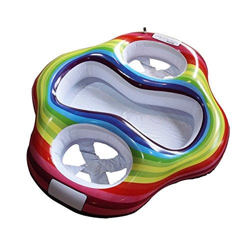 Lafuncosa Inflatable Twin Baby Pool Float Double Seats Two Babies Swim Floatie Ring