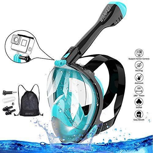 WANFEI Schnorchelmaske Vollmaske Tauchmaske,Neuestes Fortschrittliches Sicherheitsatmungssystem Vollgesichtsmaske mit 180° Sichtfeld und Kamerahaltung