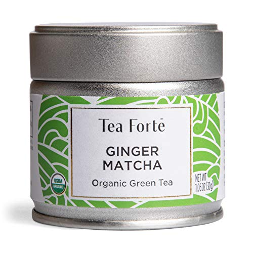 Tea Forte Organic Matcha Green Tea Powder, For Hot or Cold Matcha Tea or Latte 1.06 oz Canister (12 Servings), Ginger Matcha