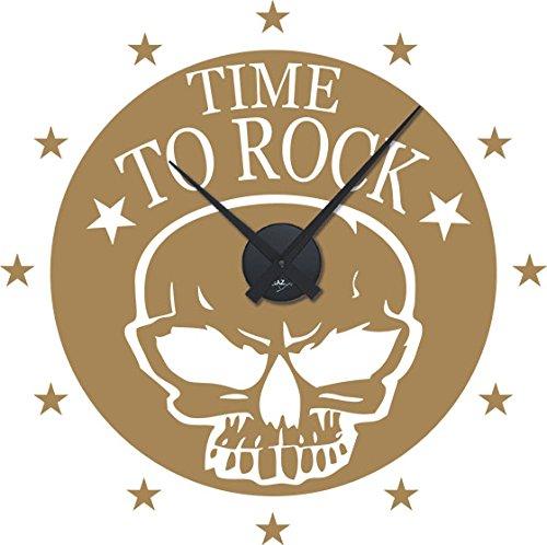 GRAZDesign wandklok grote sticker Time to Rock - muursticker met uurwerk doodskop sterren/800544 Uhrwerk schwarz 081, lichtbruin
