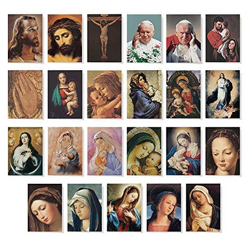Pack de 50 Estampas Tarjetas Religiosas Extra Mini de Sendas de 6 x 7 cms. | Regalos para hombres o regalos para mujer, pack de 50 estampas religiosas | Pack de tarjetas