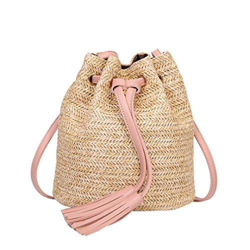 VJGOAL Damen Schultertasche, Damen Mode Boho Einfarbig Hohe Kapazität Weben Strand Reise Quasten Schulter Eimer Tasche (Rosa)