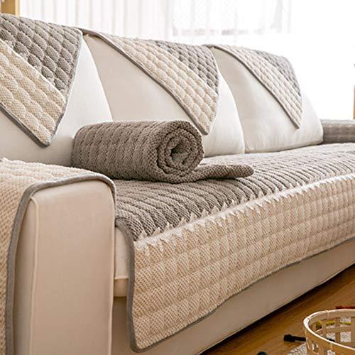 QSCV Funda Sofá Felpa Fundas para Sofa,Antideslizante Funda Sofa Ajustables para Salon,En Forma De L Protector De Muebles,Lavabile Mascotas Cubiertas De Couch para Mueble-Gris 90x90cm(35x35inch)