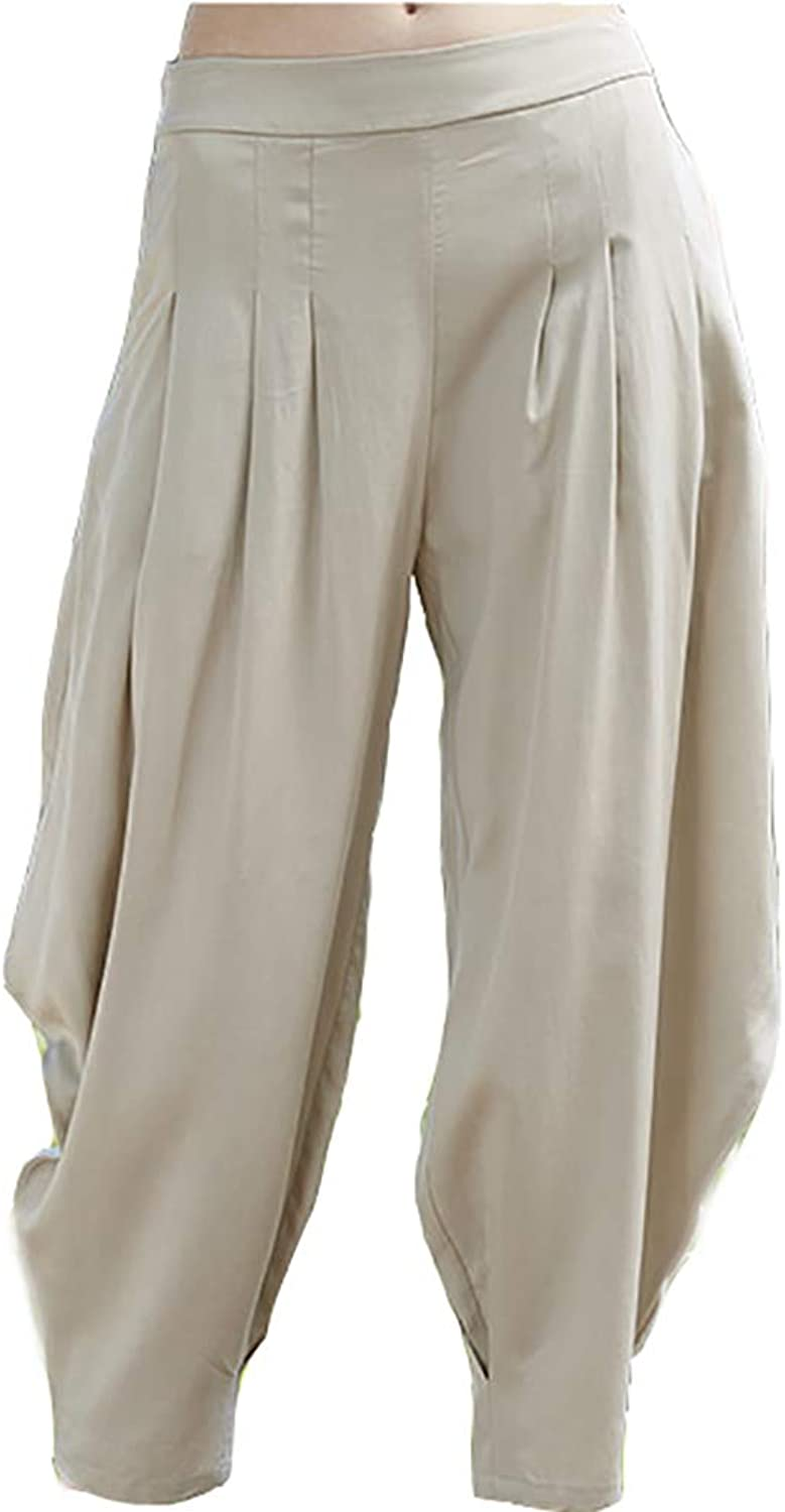 CG Women's New Literary Middle Waist Casual Pleated Lantern Nine Pants TS07